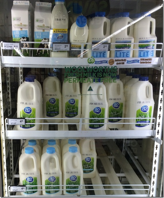 A2 milk in Woolworth fridge