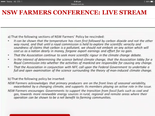 Climate Change Motion NSW Young Farmers