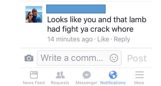 Crack whore comment